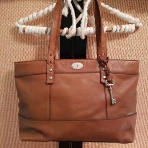 Fossil Maddox Leather Shop Tote Handbag Brown Key